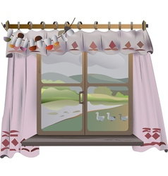 View from the window with the curtains vector