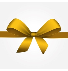 Isolated yellow gift bow with ribbon vector