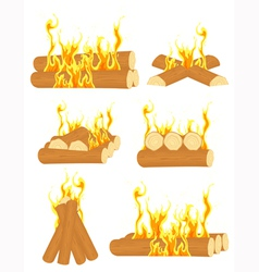 Bonfire set vector