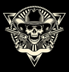 Cowboy skull with revolver vector