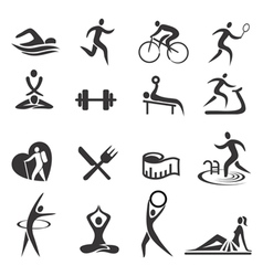 Healthy lifestyle sport icons vector