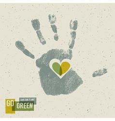 Heart in hand gogreen conceptual poster vector