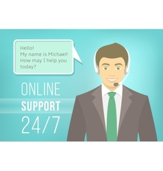 Call centre support man with headphones vector