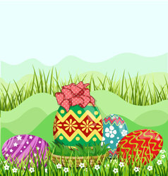 Easter eggs hunt hiding in the grass vector