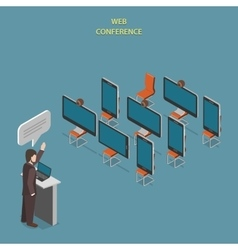 Web conference flat isometric concept vector