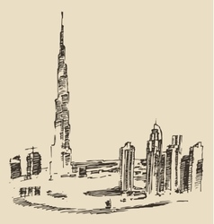 Dubai city skyline hand drawn engraved vector