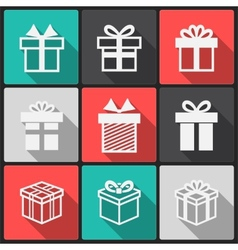 Gift box white icons vector