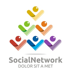 Logo social network people tower colorful design vector