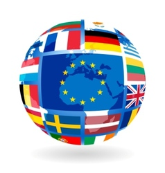 Flags of eu countries on globe vector