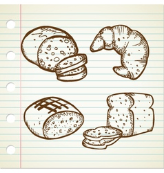 Bread doodle set vector