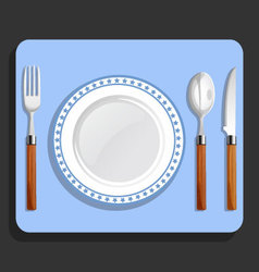 Dinner plate spoon fork and knife vector