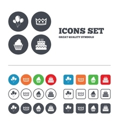 Birthday party icons cake and cupcake symbol vector