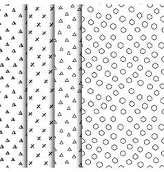 Set of four doodle seamless geometric patterns vector