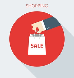 Shopping concept hand holding paper bag in vector