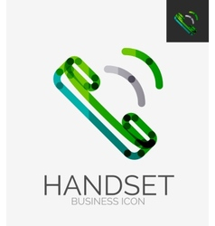 Minimal line design logo phone handset icon vector