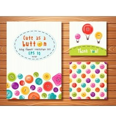 Set with cute buttons perfect for baby vector
