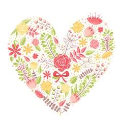 Beautiful flower heart postcard vector