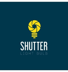 Shutter light bulb abstract symbol icon vector