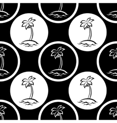 Seamless pattern islands with palm silhouettes vector