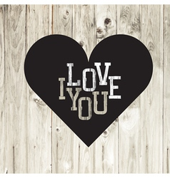 Heart on wooden texture card vector