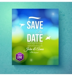 Save the date wedding template for spring wedding vector