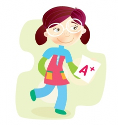School girl with test result vector