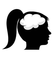Female silhouette with brain vector