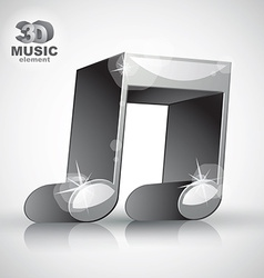 Funky metallic double musical note 3d modern style vector