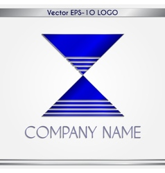 Abstract blue and silver company name logo vector
