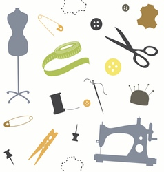 Seamless print with sewing tools vector