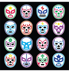 Lucha libre mexican wrestling masks icons on black vector