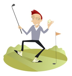 Happy golfer vector
