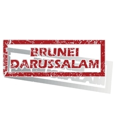 Brunei darussalam outlined stamp vector