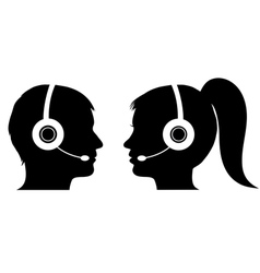Male and female operator in call center vector