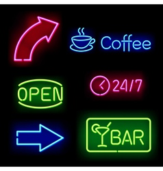 Glowing neon signs vector