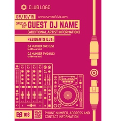 Minimal design night party flyer template with vector