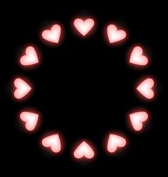 Self-illuminated pink hearts like frame on black vector