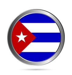 Cuba flag button vector