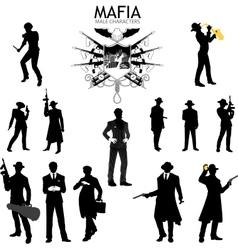 Male characters silhouettes retro mafia set vector