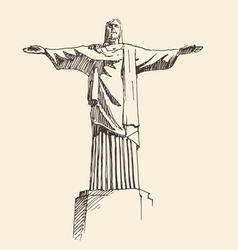 Statue of jesus christ rio de janeiro city vector