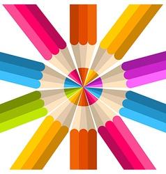 Colorful rainbow pencil circle vector