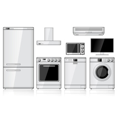 Set of realistic household appliances vector
