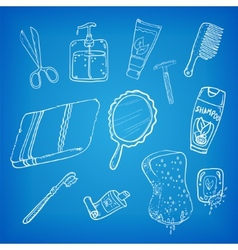 Bathroom stuff sketch vector