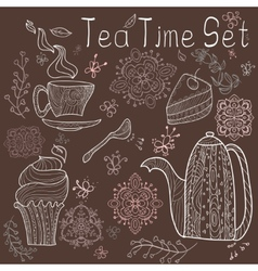 Tea time set card vector