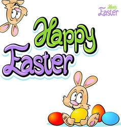 Happy easter text- design with bunny eggs vector