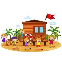 Children and hut vector