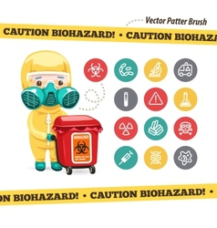 Caution biohazard icons and doctor with red vector
