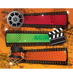 Set of three movie banners on grungy background vector