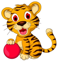 Cute baby tiger posing with pink ball vector