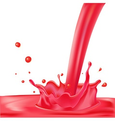 Red splash of liquid - isolated on white bac vector
